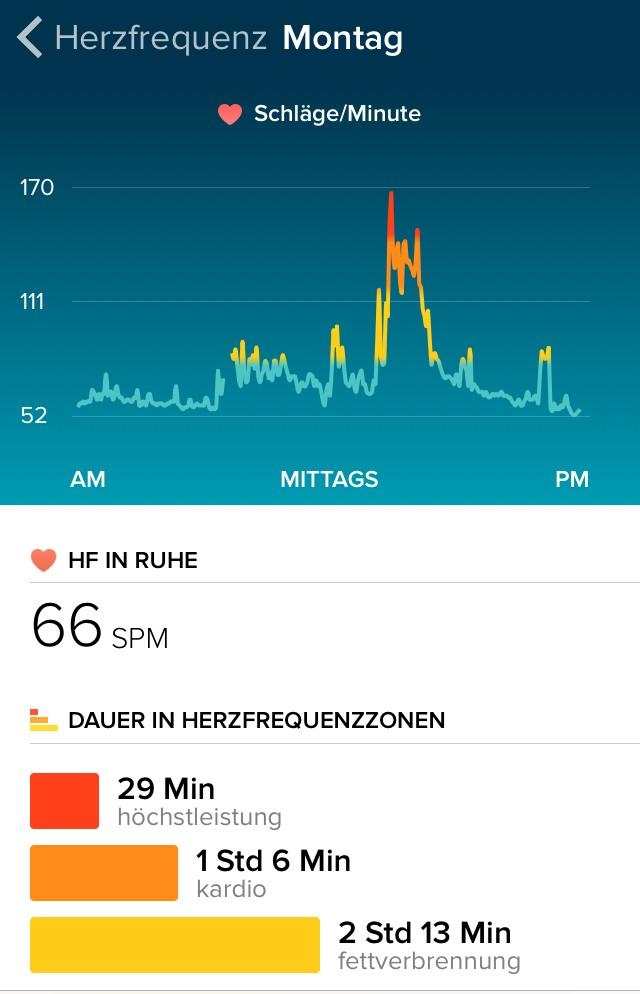 Fitbit Surge, Auswertung Herzfrequenz