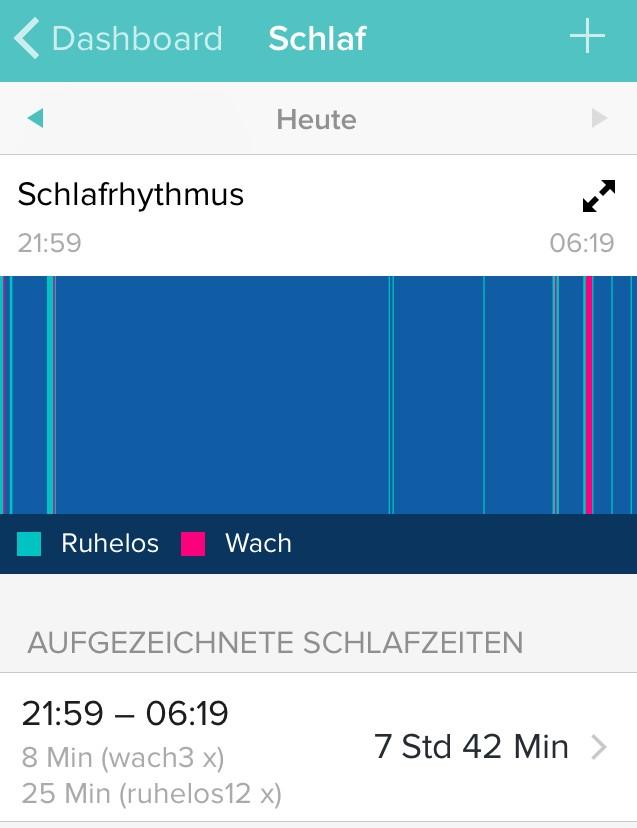 Fitbit Surge, Auswertung Schlaf